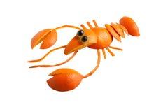小龙虾由桔子制成 免版税库存照片