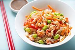 小龙虾edamame红萝卜与穿戴的面条沙拉 库存照片