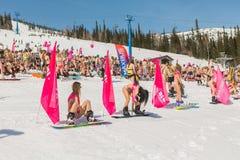 小组一个雪板的年轻愉快的俏丽的妇女在有旗子的五颜六色的比基尼泳装 免版税图库摄影