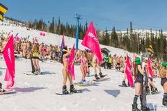 小组一个雪板的年轻愉快的俏丽的妇女在有旗子的五颜六色的比基尼泳装 免版税库存照片