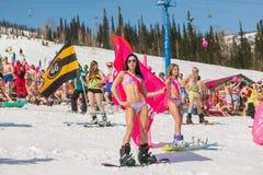 小组一个雪板的年轻愉快的俏丽的妇女在有旗子的五颜六色的比基尼泳装 免版税库存图片