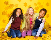 小组三个孩子坐秋叶 免版税库存照片