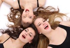 小组三个少年美丽的女孩 图库摄影