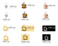 小组不同的咖啡杯商标 免版税库存照片