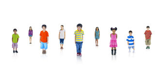 小组不同种族的世界孩子 免版税库存照片