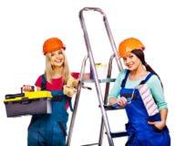 小组与建筑工具的人建造者。 免版税库存图片