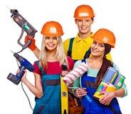 小组与建筑工具的人建造者 免版税图库摄影