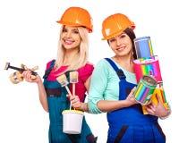 小组与建筑工具的人建造者 图库摄影