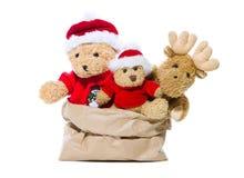 小组为红色圣诞节装饰隔绝的玩具熊-骗局 免版税图库摄影