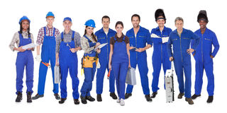 小组产业工人 免版税库存照片