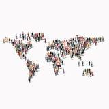 小组人形状世界地图 库存图片