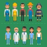 小组人建造者医生护士消防员农夫 向量例证