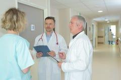小组健康雇员谈论在医院走廊 免版税库存图片