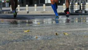 小组公马拉松运动员通过跑了飞溅在跑鞋下的水水坑 股票视频