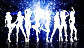 小组剪影女孩跳舞 免版税库存图片