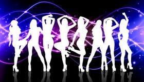 小组剪影女孩跳舞 免版税图库摄影