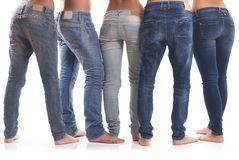 小组从后面的牛仔裤 库存图片