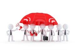小组商人在伞下。企业安全概念 库存图片