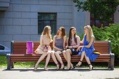小组四个少妇坐长凳在夏天公园 免版税图库摄影