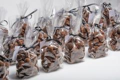 小组圣诞节块菌状巧克力连续请求 图库摄影
