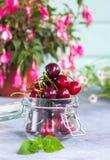 小组在一个玻璃瓶子的新鲜的水多的甜樱桃 食物自然有机 库存图片