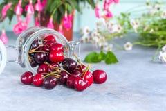 小组在一个玻璃瓶子的新鲜的水多的甜樱桃 食物自然有机 免版税图库摄影