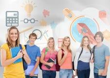 小组在商业图表前面的学生 库存照片