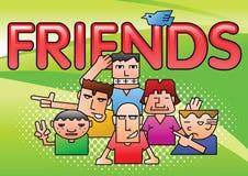 小组在梯度绿色背景的接近的男朋友动画片和中间影调夺取,当在框架时的飞鸟, 皇族释放例证