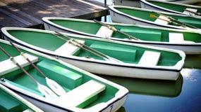 小组在河划艇的绿色划艇在公园 免版税图库摄影