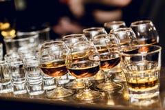 小组在白兰地酒一口威士忌酒的精神 库存图片