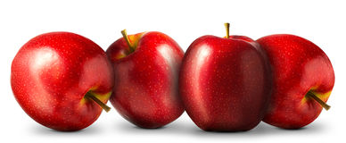小组在白色背景的红色苹果 免版税库存图片