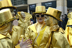 小组在维亚雷焦狂欢节的面具 库存图片