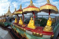 小组在Kyaikhtiyo塔的金黄Buddhas 免版税库存照片