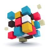 小组多彩多姿的立方体 免版税库存照片