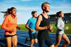 小组多种族专业赛跑者实践 免版税图库摄影