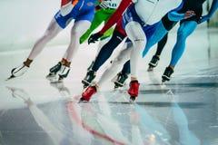 小组女性速度溜冰者在开始前做准备 库存图片