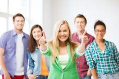 小组学生在学校 免版税图库摄影