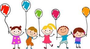 小组孩子和气球 库存图片