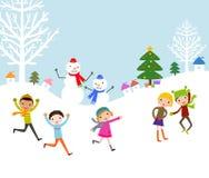 小组孩子-冬天 免版税图库摄影