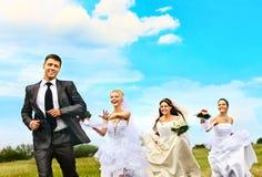 小组室外新娘和新郎的夏天。 库存照片