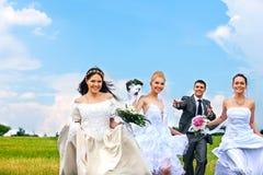 小组室外新娘和新郎的夏天 免版税库存图片