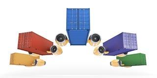 小组容器执行物品快速的交付  免版税库存图片
