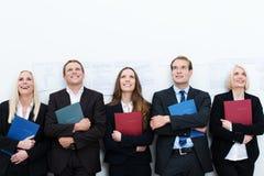 小组工作愉快的申请人 免版税库存照片