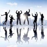 小组庆祝快乐的概念的商人 免版税库存图片