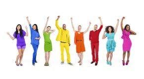 小组彩虹主题的不同种族的人民 免版税图库摄影