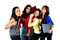 小组微笑的女性亚裔朋友/学生 免版税库存图片