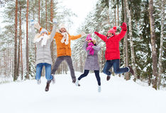 小组微笑的男人和妇女在冬天森林里 库存图片