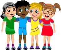 小组愉快的儿童孩子拥抱朋友被隔绝 库存照片
