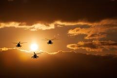 小组战斗直升机,米-24, Mi8 免版税库存图片