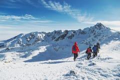 小组旅客去大冬天山远足 Landscepe 库存照片